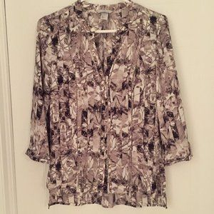 H&M Black and White Shirt with Flowers - Leaves